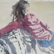 Woman in Pink Sweater_15x11_Watercolor