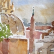 View from Roof of Hotel Piranesi_6x9_Watercolor