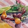 Still Life with Fruit and Root Veggies_16x12_Watercolor